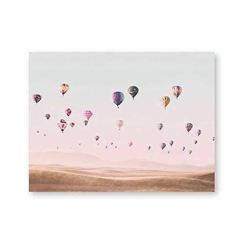 Heißluftballon drucken Wüste Landschaft Poster Wohnzimmer Wandkunst Leinwand Malerei Böhmen Wandbild Home Decor