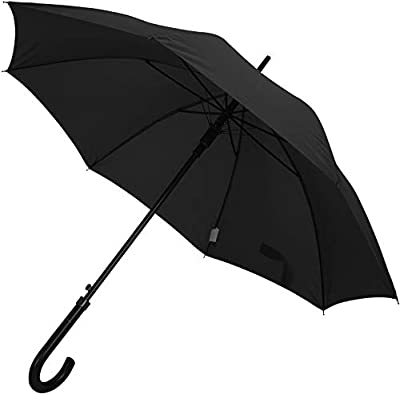 TAHARI Deluxe Automatic Open Wood Handle & Shaft Umbrella (Black)