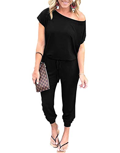 Back button closure Features: Elastic Waist,Beam Foot, O Neck,Off the Shoulder,Short Sleeves,Solid color, Two Side Pockets,Elastic Waist,Keyhole Back,Long Pants Jumpsuit,Casual Style,Lightweight and Breathable High quality stretchy and soft fabric ma...