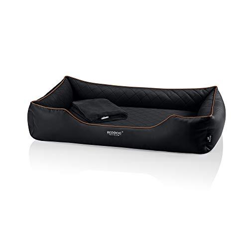 BedDog Premium Cama ortopédica para Perro Buffy, Espuma con Memoria, sofá para Perro, Felpa Regalo - Black (Negro)