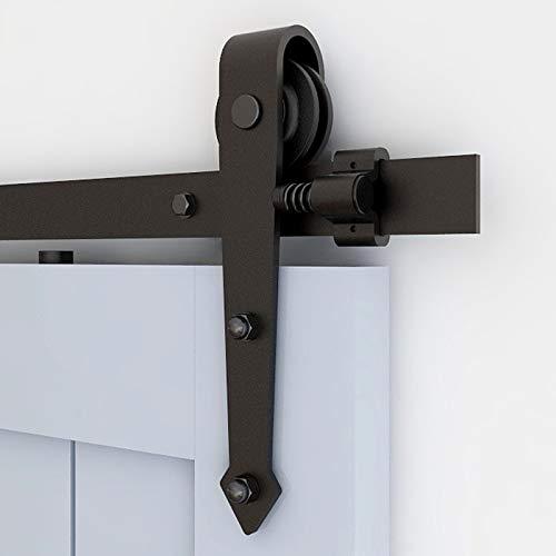skjutdörrsbeslag set skjutdörrssystem av svart komplett set med rullhjul och skena löpskenor hängskenor för skjutdörr passage trädörr - 6.6 FT (2.01 M) pilstil