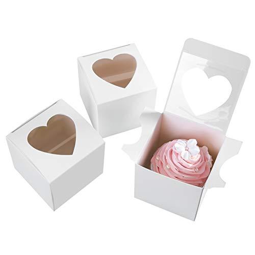 One More - Cajas para magdalenas pequeñas de 3 pulgadas con forma de corazón y ventana sin asa, caja pequeña para cupcakes, contenedores individuales, 3 x 3 x 3 pulgadas, paquete de 24