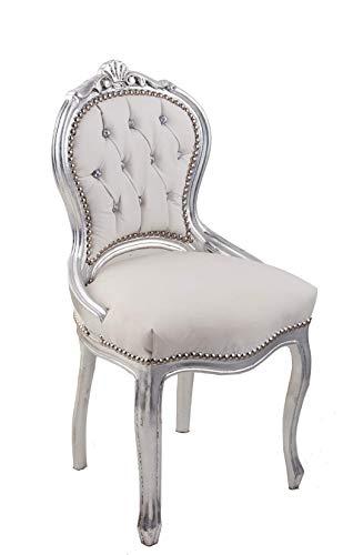 Sillón barroco estilo Luis XIV° de caoba con hoja de plata