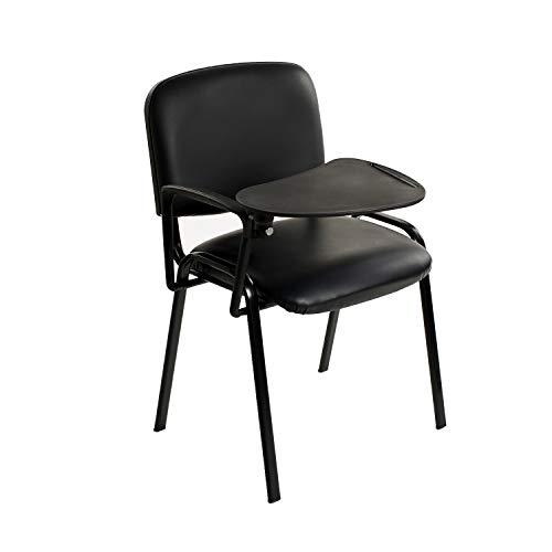 6 sedie in Ecopelle con Ribaltina scrittoio tavoletta per studio sala conferenza convegni (Nero)