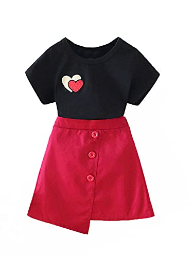 Kids Baby Girls Fashion 2-Piece Outfit Set Short Sleeve Heart Embroidery Tops+Skirt Set (Black, 1-2T)