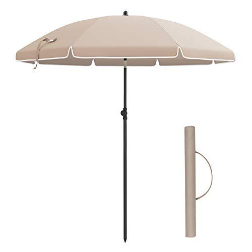 SONGMICS Sonnenschirm, Ø 160 cm, Marktschirm, UV Schutz UPF 50+, Sonnenschutz, achteckiger Gartenschirm aus Polyester, Schirmrippen aus Glasfaser, mit Tragetasche, TaupeGPU60BR