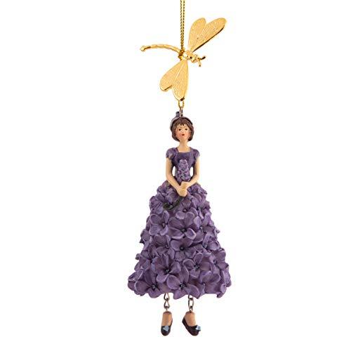 ROSEMARIE SCHULZ Heidelberg Flieder Blumen Mädchen mit Libelle zum Hängen Flower Fairy Figur Dekofigur Blumenfigur Skulptur Blumenkinder