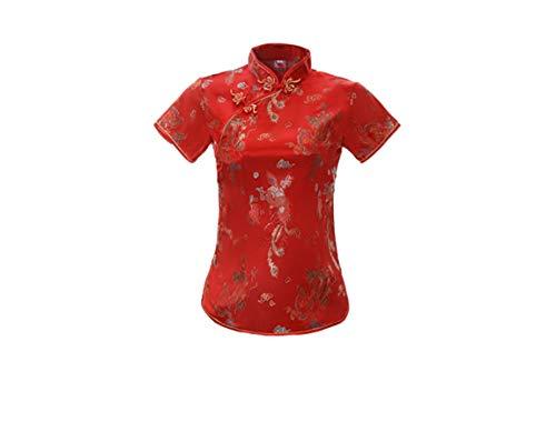 ACVIP Qipao - Blusa china de manga corta para mujer, diseño de dragón rojo 36