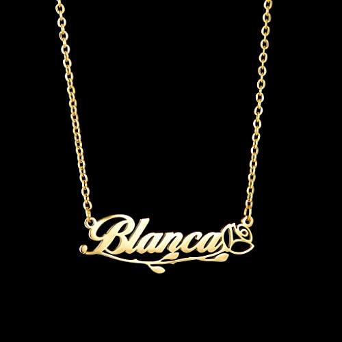KONZFP Collar Collares con Letras Personalizadas, Cadena de joyería Personalizada, Colgante, Nombre, Collar de Oro para Mujeres, Regalos de Acero Inoxidable