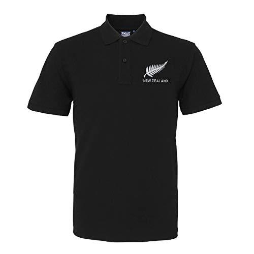 Herren Rugby-Poloshirt, Vintage-Stil, Neuseeland Gr. XL, Schwarz