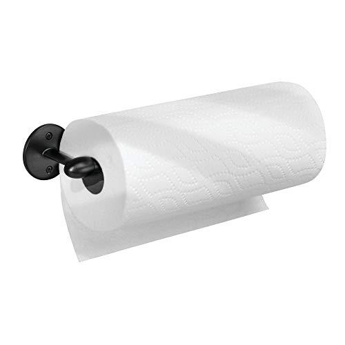iDesign Küchenrollenhalter, kleiner Papierrollenhalter aus Metall, wandmontierter Küchenhelfer für eine Küchenpapierrolle, mattschwarz