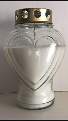 Purple Candle Gedenkkerze in Herzform, Glas, weiß, 18.5x11x9 cm