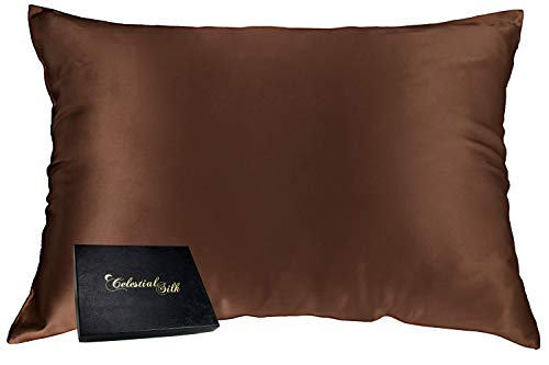 Celestial Silk 100% Silk Pillowcase for Hair Zippered Luxury 25 Momme Mulberry Silk Charmeuse Silk on Both Sides of Cover -Gift Wrapped- (Queen, Chocolate)