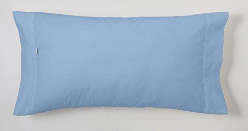 ESTELA - Funda de Almohada Combi Liso Cala Color Azul Celeste - 1 Pieza de 45x110 cm - 100% Algodón - 144 Hilos