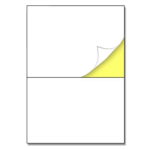 25 feuilles, A4 Papier Autocollant Imprimante Blanc - 2 étiquettes par feuille, 148,5 x 210 mm (A5)