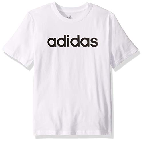 adidas Boys' Big Short Sleeve Cotton Jersey T-Shirt Tee, Linear Logo White, Large