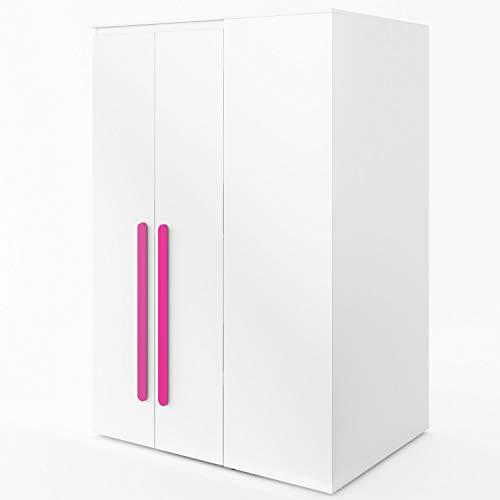 Furniture24 Eckkleiderschrank Replay RP00L, Eckschrank, Begehbarer Kleiderschrank mit 4 Einlegeböden, 2 Kleiderstangen, Innere LED Beleuchtung und Spiegel (Weiß/Weiß Hochglanz/Rosa)