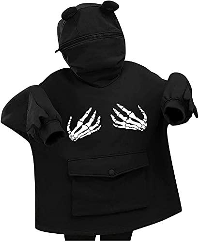 Sudaderas con capucha para las mujeres suéter cremallera suelta manga larga Top lindo rana jersey sudadera negro T05, A10-negro, S