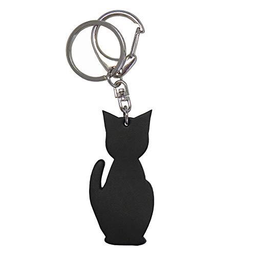 (シールアル)猫チャームキーホルダー 本革 日本製 キーリング バッグチャーム CLuaR-KH ((名前刻印する)01.ブラック)
