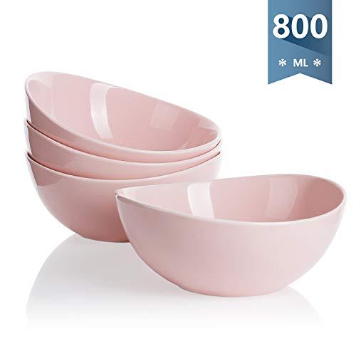 Sweese 103.108 Suppenschalen 4er Set aus Porzellan, Füllmenge 800 ml, Müslischale, Suppenschale, Salatschüssel, Rosa