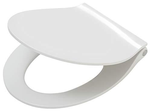 Tiger Toilettensitz mit integrierter LED-Beleuchtung, Absenkautomatik und Easy-Clean-Funktion, Duroplast, Farbe: Weiß, Edelstahlbefestigung