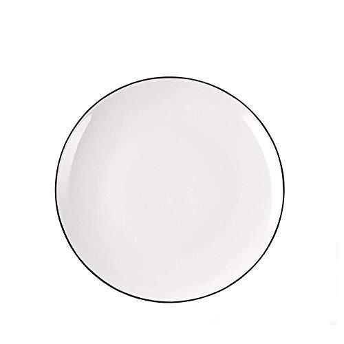 Bandeja de Fuente para Horno Placas de postre Placas de ensalada blanca de cerámica Platos planos redondos Cocina para cocinar plato para hornear para la cena Steak Omelette Fruit Aperitivo