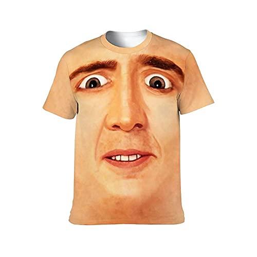 Nicolas Cage Facial ニコラスケイジフェイシャル メンズ レディ Tシャツ ショートスリーブ 丸首 ゆったり 大き スポーツ 春秋 トップス