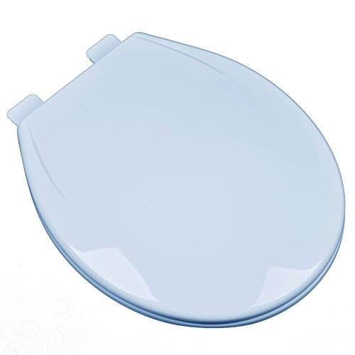 Bath Décor 2F1R6-40 Slow Close Plastic Round Top Mount Adjustable Release and Clean Hinge Toilet Seat, DRESDEN BLUE