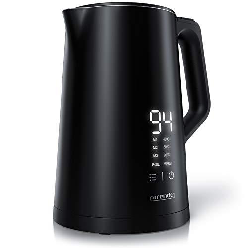 Arendo - Bollitore acqua elettrico in acciaio inox da 1,5 litri – Senza pulsanti o manopole - 40-100 gradi – Display touch a scomparsa - Modello AESTHET - BPA Free – GS – Nero