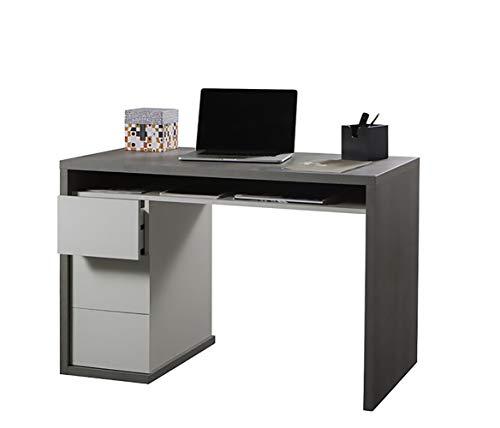 Amazon Marke - Movian - Schreibtisch mit 3 Schubladen, 110 x 75 x 60 cm, Beton/Hochglanz Weiß