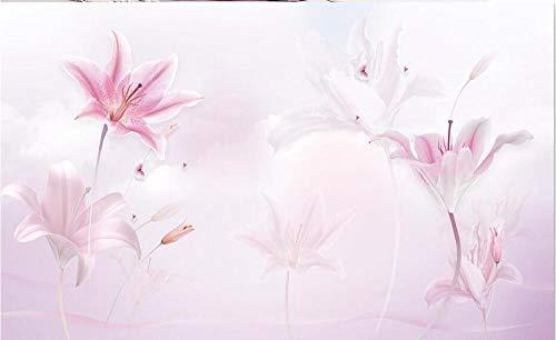 Vlies Fototapete – Wanddekoration XXL Wasserfall Rosa Lilie Purpur Wolken TV Hintergrund Wandfarbe 3D Fototapete