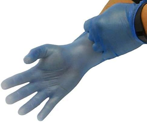Fashionable Disposable Gloves Powder Finally popular brand Free Size Vinyl Medium Blue
