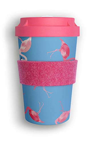 heybico Coffee to go Becher aus Pflanzen hergestellt im Schwarzwald inkl. Veganer Manschette   umweltfreundlich & klimaschonend (Flamingo)