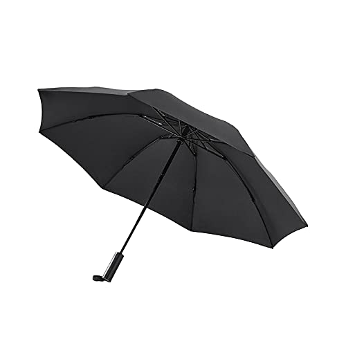 Paraguas Automático Playa de Mujer Parasol Hombres Big Lluvia Parbrillas Resistente al Viento Doblado inverso con luz de iluminación (Color : Black)