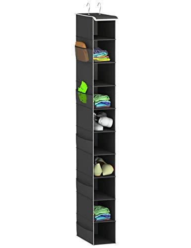 coastal rose Hanging Shoe Organizer for Closets 10-Tier Hanging Shelf Closet Storage Organizer Accessories Space Saving Shoe Rack (1 Pack,Black)