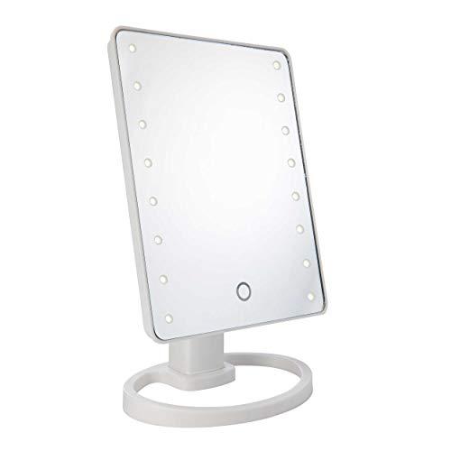 ONVAYA® LED Spiegel | Kosmetikspiegel 360° drehbar | Schminkspiegel mit 16 LED, blendfrei | beleuchteter Make-up Tischspiegel mit Ablagefach