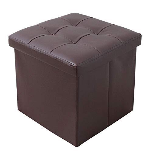 LXTIN Taburete de Cuero con reposapiés de Almacenamiento Plegable, Caja organizadora Banco de Mesa de Centro Banco de Zapatos Plegable Taburete marrón 38x38x38cm (15x15x15inch)