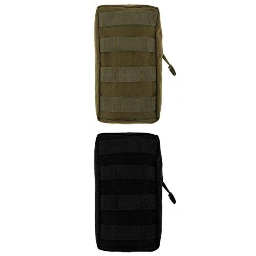 Lot 2pcs Modulaire Pochette Sac Utilitaire Accessoire Militaire -Noir et Vert Armée