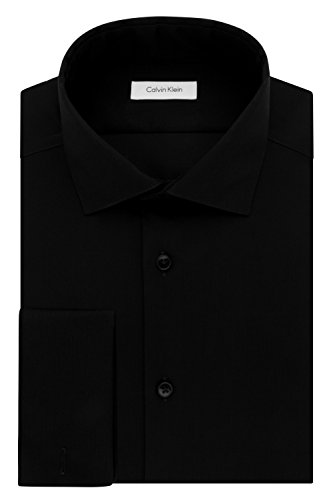 "Calvin Klein Men's Dress Shirt Slim Fit Non Iron Herringbone French Cuff, Black, 17"" Neck 34""-35"" Sleeve (X-Large)"
