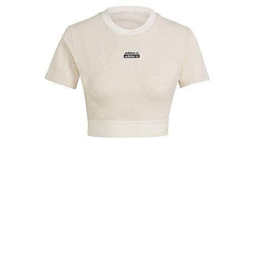 adidas Frauen Cropped Tee T-Shirt (Kurzarm), Off White Mel, 38