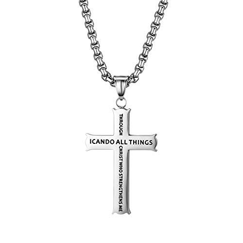 OIDEA Collana in acciaio inox con ciondolo a forma di croce in argento con catenina da 56 cm per uomo e donna