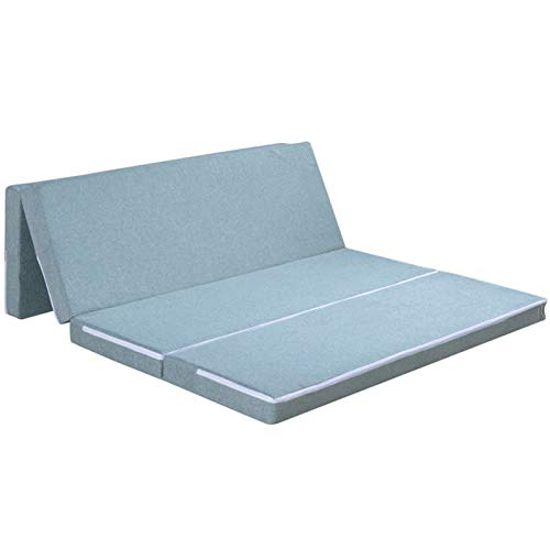 YRRA 6cm Grueso Espuma Comodidad Colchón, Cuatro Plegables Colchones Respirable Altamente Durable Suave Tela Tejida, (Invierno Verano),Azul,135 * 200 * 6cm
