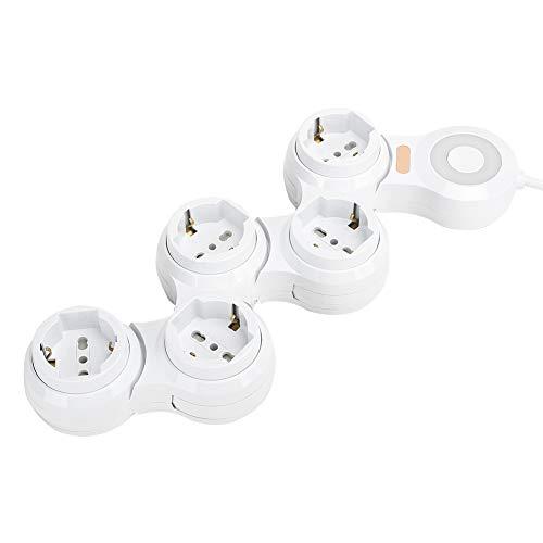 PUSOKEI Deformación del Enchufe de la regleta, deformación Cable de alimentación Enchufe del Cargador Carga USB de 5 Conectores cóncavos con Interruptor indicador de Encendido, 10 A 220 V