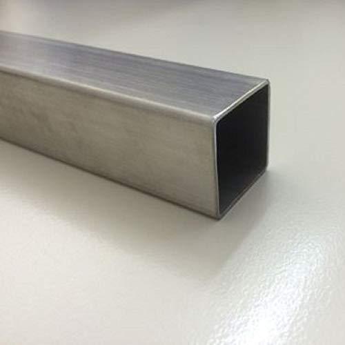 Edelstahl Vierkantrohr V2A (1.4301) K240 geschliffen (+0/-3 mm) (Maße: 50 x 50 x 2mm, Silber (Edelstahl); Länge 1m)
