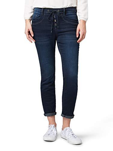 TOM TAILOR für Frauen Jeanshosen Relaxed Tapered Jeans Dark Stone wash Denim, 33/32