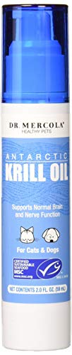 Dr. Mercola Antarctic Krill Oil Liquid Pump for Pets - 1.6 Fl Oz. 100 Mg - Rich in Omega-3-6 Fatty Acids and Astaxanthin - Supports Normal Brain and Nerve Function for Cats and Dogs