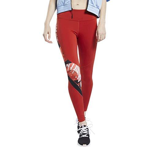 Reebok - Mallas Deportivas para Mujer, Mujer, Ajustado, GJJ80, Rojo heredado, Large