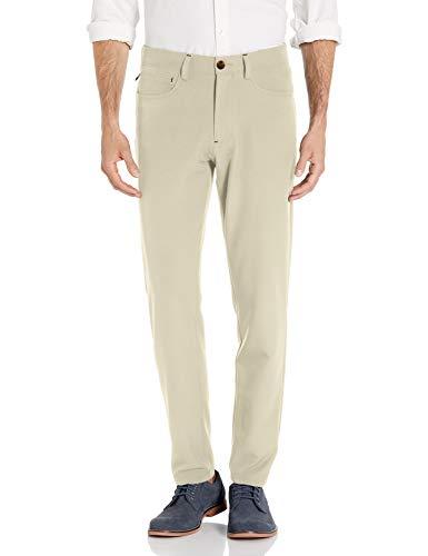 HAGGAR Men's Active Series Slim Fit Flat Front 5-Pocket Tech Pant, string, 38 X 30