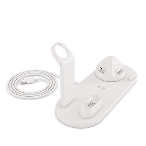 Qi 4 en 1 Cargador inalámbrico para teléfonos Estación de Dock de Carga para el Cargador de teléfono Celular WTACH USB TYEP C Stand Fast Carga (Color : White Wireless)