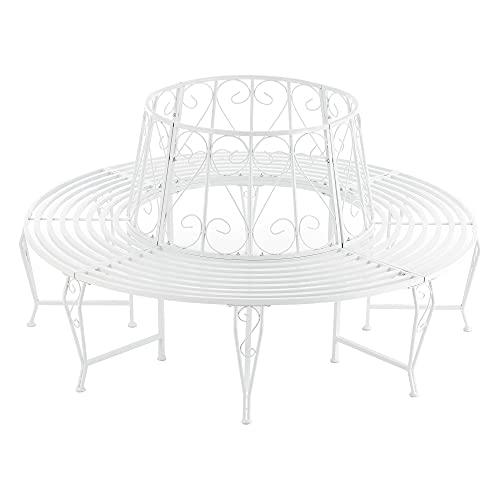 [en.casa] Panca Circolare da Giardino, Seduta Rotonda per Albero, Panchina in Acciaio (ØxA) 160cm x 84cm Struttura Decorativa - Bianco